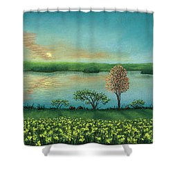 Sunset Lake Triptych Shower Curtain
