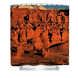 Sunset Light Turns The Hoodoos Blood Red In Goblin Valley State Park Utah Shower Curtain by Dave Welling