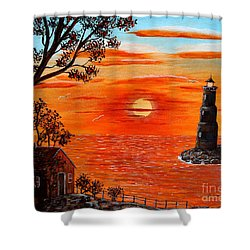 Sunset Lighthouse Shower Curtain by Barbara Griffin