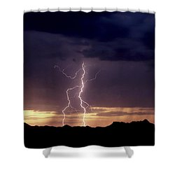 Shower Curtain featuring the photograph Sunset Lightning-signed by J L Woody Wooden