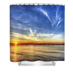 Sunset Mackinac Bridge Shower Curtain