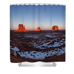 Sunset Moonrise Shower Curtain by Tassanee Angiolillo