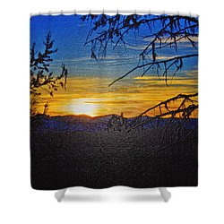 Shower Curtain featuring the photograph Sunset Mountain To Mountain by Janie Johnson