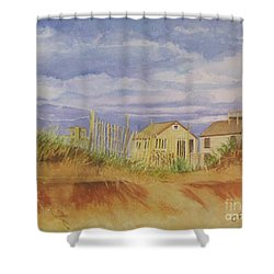 Shower Curtain featuring the painting Sunset Nantucket Beach by Carol Flagg