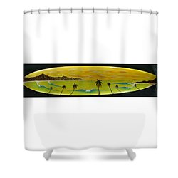 Sunset On A Surfboard Shower Curtain