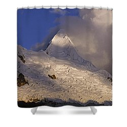 Shower Curtain featuring the photograph sunset on Alpamayo by Rudi Prott