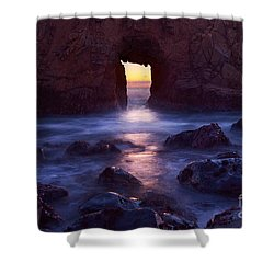 Sunset On Arch Rock In Pfeiffer Beach Big Sur In California. Shower Curtain by Jamie Pham