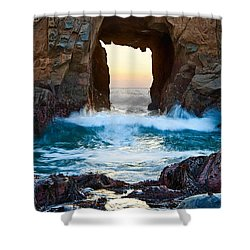 Sunset On Arch Rock In Pfeiffer Beach Big Sur. Shower Curtain by Jamie Pham