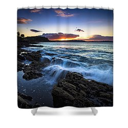 Shower Curtain featuring the photograph Sunset On Ber Beach Galicia Spain by Pablo Avanzini