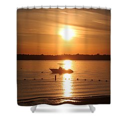 Shower Curtain featuring the photograph Sunset On Boat by Karen Silvestri