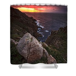 Sunset On Cape Prior Galicia Spain Shower Curtain