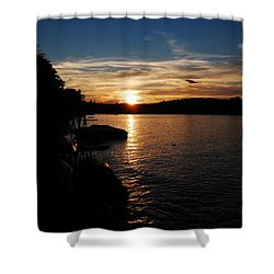Shower Curtain featuring the photograph Sunset On Halfmoon by Mim White