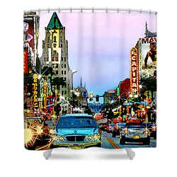 Shower Curtain featuring the digital art Sunset On Hollywood Blvd by Jennie Breeze