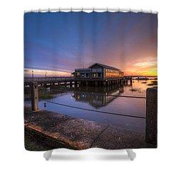 Sunset On Jekyll Island Shower Curtain by Debra and Dave Vanderlaan