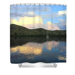 Sunset On Komodo Shower Curtain by Sergey Lukashin