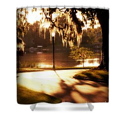 Sunset On Lake Mizell Shower Curtain by Valerie Reeves