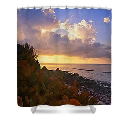 Sunset On Little Cayman Shower Curtain by Stephen Anderson