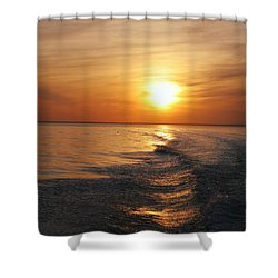Shower Curtain featuring the photograph Sunset On Long Island Sound by Karen Silvestri