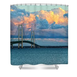 Sunset On Mackinac Bridge Shower Curtain