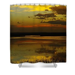 Sunset On Medicine Lake Shower Curtain by Jeff Swan