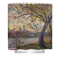 Sunset On Niagara River  Shower Curtain by Ylli Haruni