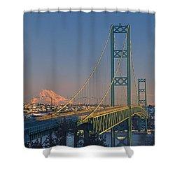 1a4y20-v-sunset On Rainier With The Tacoma Narrows Bridge Shower Curtain