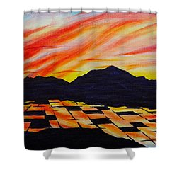 Shower Curtain featuring the painting Sunset On Rice Fields by Michele Myers