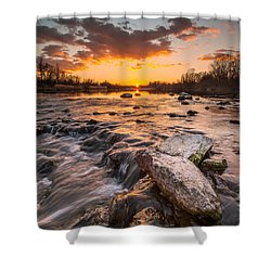 Sunset On River Shower Curtain