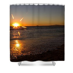 Sunset On Sunset Beach Shower Curtain by Heidi Smith