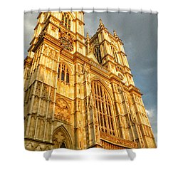 Sunset On The Abbey  Shower Curtain by Connie Handscomb