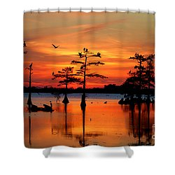 Sunset On The Bayou Shower Curtain by Carey Chen