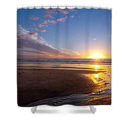 Sunset On The Beach At Carlsbad. Shower Curtain by Melinda Fawver