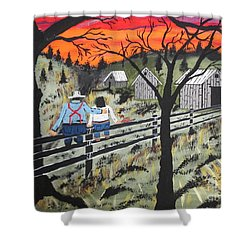 Sunset On The Fence Shower Curtain by Jeffrey Koss