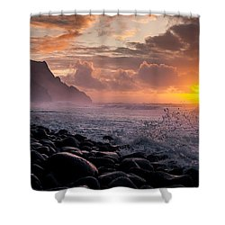 Sunset On The Kalalau Shower Curtain