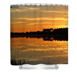 Sunset On The Lake Shower Curtain by Cynthia Guinn
