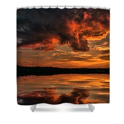 Sunset On The Lake Shower Curtain by Rick Friedle