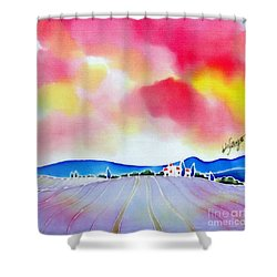 Sunset On The Lavender Farm  Shower Curtain