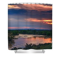 Sunset On The Payette  River Shower Curtain by Robert Bales