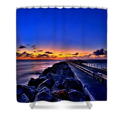 Shower Curtain featuring the painting Sunrise On The Pier by Bruce Nutting