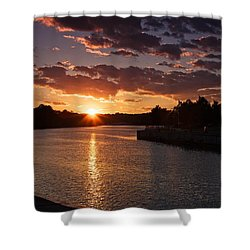 Shower Curtain featuring the photograph Sunset On The River by Dave Files