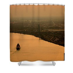 Sunset On The River Shower Curtain by Linda Shafer