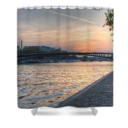 Sunset On The Seine Shower Curtain by Jennifer Ancker