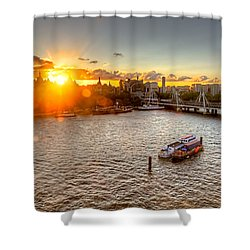 Sunset On The Thames Shower Curtain by Tim Stanley