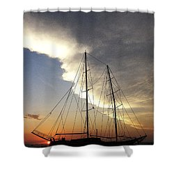 Sunset On The Turkish Gulet Shower Curtain by Anne Mott