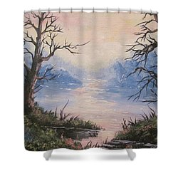 Shower Curtain featuring the painting Sunset On Water by Megan Walsh