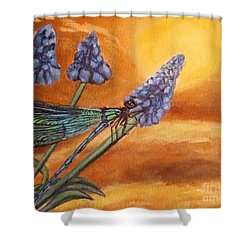 Shower Curtain featuring the painting Summer Sunset Over A Dragonfly by Kimberlee Baxter