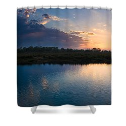 Sunset Over A Lake, Chitwan National Shower Curtain by Panoramic Images