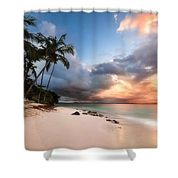 Shower Curtain featuring the photograph Sunset Over Bacardi Island by Mihai Andritoiu