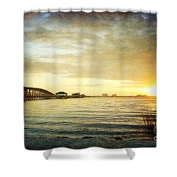 Sunset Over Biloxi Bay Shower Curtain by Joan McCool
