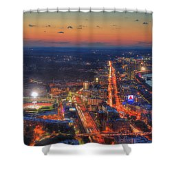 Sunset Over Fenway Park And The Citgo Sign Shower Curtain by Joann Vitali